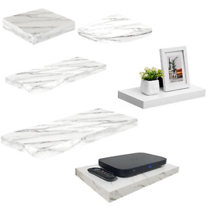 Shelves White Marble High Gloss Floating Shelf Display Unit Wall Mounted Shelves