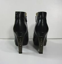 Chanel Black Leather Boots with Metal Logo Heel 37,5 $1690