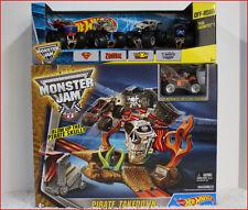 LOT 2 - Hot Wheels MONSTER Jam PIRATE TAKEDOWN Race Set + 5 Monster Trucks *NEW*