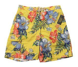 "Polo Ralph Lauren Men's Yellow Floral Hibiscus Print 8.5"" Swim Trunks"