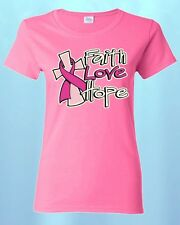 FAITH LOVE HOPE WOMEN T-SHIRT Breast Cancer Awareness Shirts Save The Boobies!