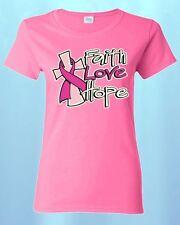FAITH LOVE HOPE WOMEN T-SHIRT Breast Cancer Awareness Shirts Save The Boobies!