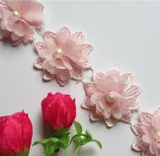 10x Pearl Flower Lace Edge Trim Vintage Wedding Bridal Dress Ribbon Sewing Craft