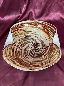 Italian Murano Art Glass Brown Swirl Gold Flecks Folded Bowl Candy Dish MCM EUC