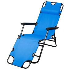 New Chaise Lounge Patio Chair Outdoor Yard Beach Metal Folding Recliner Blue