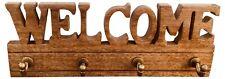 Wooden Rustic Entryway Welcome Word Text Coat Hook 4 Wall Hooks Wood Rack Hanger