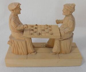 Collectible Lionel Dube Woodcarving Canada - Men Playing Checkers - Signed