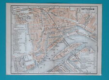 "1905 BAEDEKER MAP - HOLLAND Rotterdam City Plan 6 x 8"" (15,5 x 21 cm)"