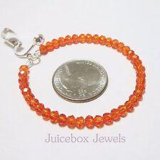 CLIP On  RED ORANGE 2 inch Glass Crystal Hoop Handmade Bling Earrings V471