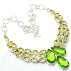 "Peridot, Citrine Gemstone 925 Sterling Silver Jewelry Necklace  18"""