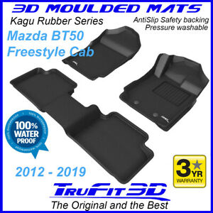 Fits Mazda BT50 Freestyle Cab 2012 - 2020 Geuine 3D Black Rubber Car Floor Mats