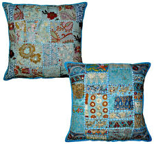 2pc Blue Vintage Bohemian Indian throw Pillow in Blue, decorative gypsy throw