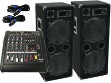 Das PA-SET 32 Powermixer Anlage DJ 3Wege 4 x 30 cm Bass USB Musikanlage 3000 W