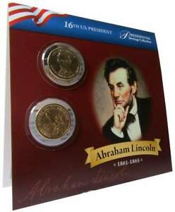 2010 P&D Abraham Lincoln Presidential Dollar 2 Coin Set BU Uncirculated Bifold