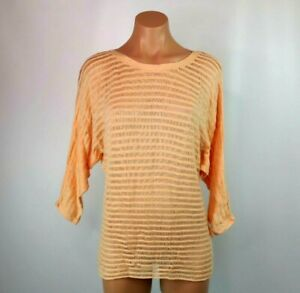 Alice + Olivia $297 Dolman Sleeve Peach Illusion Coral Stripe Tunic Sweater SZ S