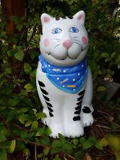 COCO DAWLEY ~~ CAT with BLUE 'Fish' Bandana ~~ Ceramic COOKIE JAR