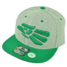 Hecho en Mexico Made in Snapback Flat Bill Brim Hat Cap Heather Gray Green