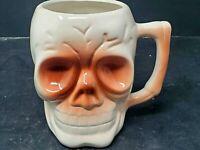 "Vintage SKULL Ceramic Mug Cup Orchids Of Hawaii Japan 4"" Tall"