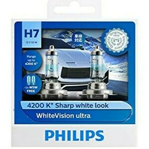 Genuine Philips WhiteVision Ultra 4200K H7 12V 55W Globes T10 W5W  - Twin Pack