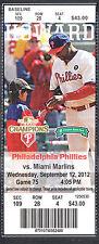 Philadelphia Phillies vs Miami Marlins Sept 12 2012 Unused Ticket Stub R Howard