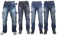 Crosshatch Mens Cargo Jeans Sandblast Denim Button Fly Regular Fit Casual Pants