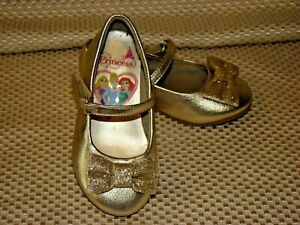 Disney Princess Gold Dress Shoes Toddler Girls Size 5.5 - Glitter Bow & Heel