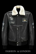 AVIATOR Men's Leather Bomber Jacket Black Hide Fur Collared Air Force Style 1224