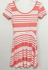 Derek Heart Women's Juniors Dress Fit Flare Striped Peach White Soft Size Small