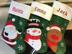 Personalised Christmas Stocking Green Santa Snowman Reindeer Stocking