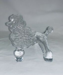 Vintage clear glass -  poodle / dog paperweight. Solid & heavy