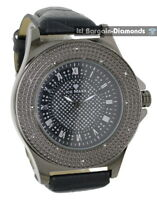 mens gunmetal black diamond clubbing watch bling dial leather ice maxx