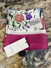Gucci Flora GG Silk Scarf, Fucshia Trim, Brand New With Tags.