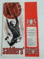 WALSALL v MANSFIELD TOWN football programme 1962-63 division 3
