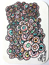 ACEO Original Art  A Whole Lotta Eyes Signed Art Card ATC w/ Magnetic Loader