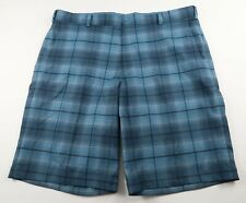 Nike Golf Mens Stretch Polyester Dri Fit Blue Plaid Activewear Shorts Size 40