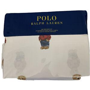 Polo Ralph Lauren White Polo Blue Jean Bear Twin Sheet Set 100% Cotton NWT
