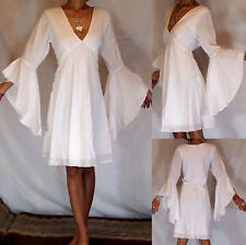 ETHNIC BOHO Vtg 70's  ETHNIC WHITE ANGEL BUTTERFLY vampire WEDDING  DRESS