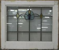 "MID SIZED OLD ENGLISH LEADED STAINED GLASS WINDOW Simple Abstract 23.75"" x 20.25"
