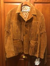 NWT, Men's Vintage Western Schott NYC Suede Leather Fringe Jacket, Sz 48,Perfect