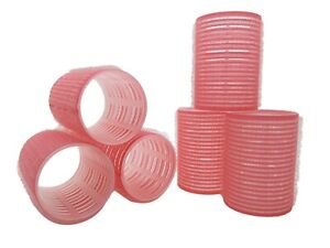 6 XL Large Curl Cling Hair Rollers Pink 45mm Adds Top Layer Volume