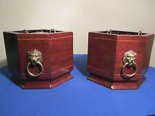 New listing Vintage Planter Bookends With Metal Liners ! Lions Head!
