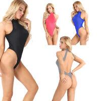 Sexy Womens Sleeveless Halter High Cut Leotard Lingerie Backless Thong Bodysuit