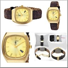 Authentic REPLAY Watch GT Collection Gold Brown Woven  Leather Watch