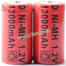 2 x formato D 13000mAh batteria ricaricabile Ni-MH 1,2 V Colore Rosso Nuovo
