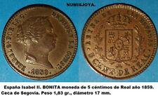 ISABEL II año 1859. BONITOS 5 Céntimos de Real Cobre Segovia. Peso 1,83 gr. EBC