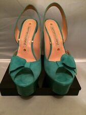 Pre-loved Gianmarco Lorenzi Turquoise Hot Suede Platform Sandals Sz 38.5EU 8.5US