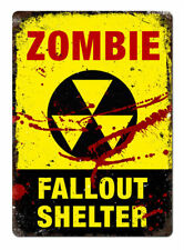 Zombie Fallout Shelter Plaque Kids Bedroom Walking Dead Aluminium Metal Sign