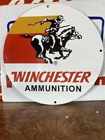 VINTAGE ''WINCHESTER AMMUNITION '' 12 INCH PORCELAIN DEALER SIGN MADE USA