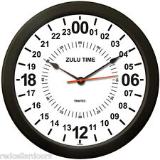 "Trintec 14"" WHITE Military Time 24 Hour Wall Clock ZULU Time Ham Radio SWL New"