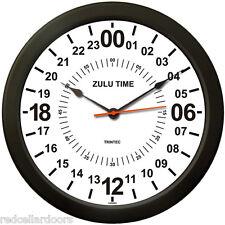 "New TRINTEC  24 Hour Clock 10"" WHITE Military SWL ZULU Time Ham Shack Radio Gift"